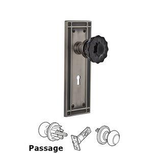 Nostalgic Warehouse Nostalgic Warehouse - Passage - Mission Plate with Keyhole Crystal Black Glass Door Knob in Antique Pewter