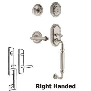 Nostalgic Warehouse Rope Plate With F Grip And Fleur Lever in Satin Nickel
