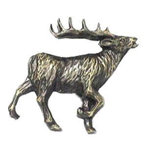Novelty Hardware Walking Elk Knob Facing Right in Antique Brass