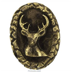 Novelty Hardware Small Whitetail Oval Knob in Antique Brass
