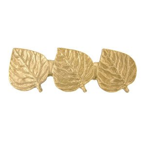 Novelty Hardware Triple Leaf Pull in Lux Gold