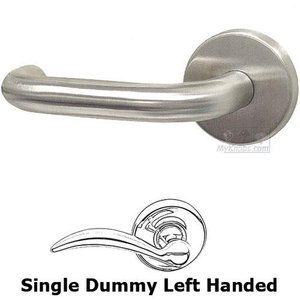 Omnia Industries Single Dummy Loft Left Handed Lever with Plain Rosette in Brushed Stainless Steel