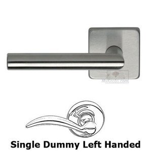 Omnia Industries Left Handed Single Dummy Bar Lever with Square Rose in Brushed Stainless Steel
