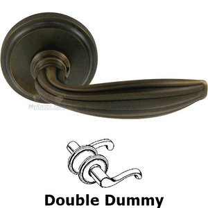 Omnia Industries Double Dummy Traditions Scalloped Lever with Round Rosette in Antique Bronze Unlacquered
