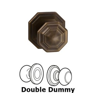 Omnia Industries Double Dummy Traditions Octagon Knob with Octagon Rosette in Antique Bronze Unlacquered