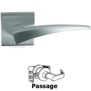 Omnia Industries Passage Sharp Lever with Square Rose in Satin Chrome