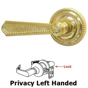 Omnia Industries Privacy Beaded Left Handed Lever with Beaded Rosette in Polished Brass Lacquered