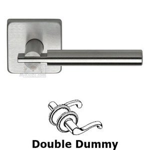 Omnia Industries Double Dummy Interlocking Lever with Square Rose in Brushed Stainless Steel