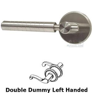 Omnia Industries Double Dummy Euro Ridge Left Handed Lever with Plain Rosette in Brushed Stainless Steel