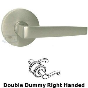 Omnia Industries Double Dummy Chicago Right Handed Lever with Plain Rosette in Satin Nickel Lacquered