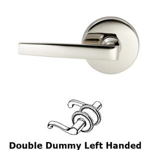 Omnia Industries Double Dummy Chicago Left Handed Lever with Plain Rosette in Polished Nickel Lacquered