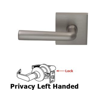 Omnia Industries Privacy Soho Left Handed Lever with Square Rosette in Satin Nickel Lacquered