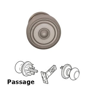 Omnia Industries Passage Traditions Beaded Door Knob with Small Beaded Rosette in Satin Nickel Lacquered