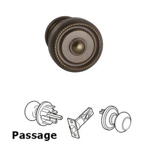 Omnia Industries Passage Traditions Beaded Door Knob with Small Beaded Rosette in Antique Bronze Unlacquered