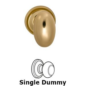 Omnia Industries Single Dummy Traditions Classic Egg Door Knob with Medium Radial Rosette in Polished and Lacquered Brass