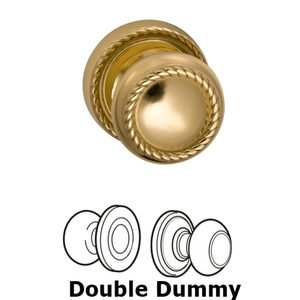 Omnia Industries Double Dummy Set Classic Rope Knob with Rope Rosette in Polished and Laquered Brass