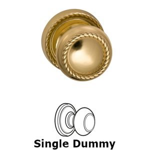 Omnia Industries Single Dummy Classic Rope Knob with Rope Rosette in Polished Brass Lacquered