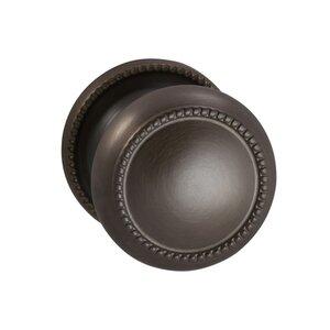 Omnia Industries Single Dummy Traditions Beaded Door Knob with Medium Beaded Rosette in Antique Bronze Unlacquered