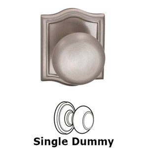 Omnia Industries Single Dummy Colonial Knob with Arch Rose in Satin Nickel