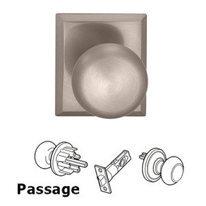 Omnia - Prodigy Door Hardware - Passage Colonial Knob with Rectangle Rose in Satin Nickel