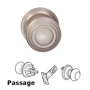 Omnia Industries Passage Traditions Contoured Door Knob with Small Radial Rosette in Satin Nickel Lacquered