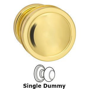 Omnia Industries Single Dummy Edged Knob and Small Edged Rose in Polished Brass Lacquered