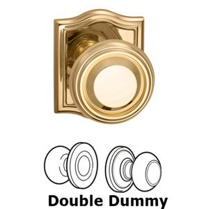Omnia Industries Double Dummy Traditional Knob with Arch Rose in Polished Brass Lacquered
