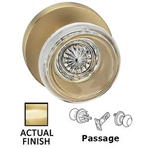 Omnia Industries Passage Traditional Glass Knob With Modern Rose in Polished Brass Lacquered