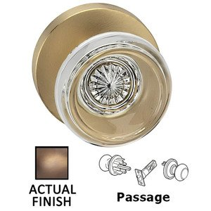 Omnia Industries Passage Traditional Glass Knob With Modern Rose in Antique Brass