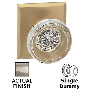Omnia Industries Single Dummy Traditional Glass Knob With Rectangular Rose in Polished Polished Nickel Lacquered