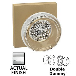 Omnia Industries Double Dummy Traditional Glass Knob With Square Rose in Polished Chrome