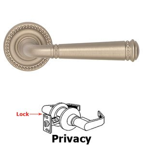 Omnia Industries Privacy Beaded Lever and Small Beaded Rose in Satin Nickel Lacquered