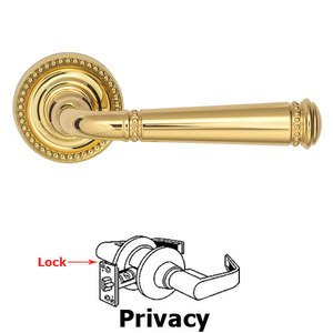 Omnia Industries Privacy Beaded Lever and Small Beaded Rose in Polished Brass Unlacquered