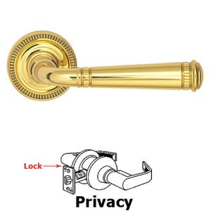 Omnia Industries Privacy Milled Lever and Small Milled Rose in Polished Brass Lacquered
