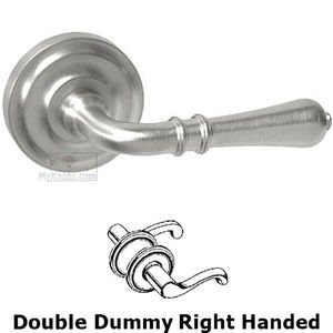 Door Levers by Omnia Door Hardware - Double Dummy Orlean Right Handed Lever with Radial Rosette in Max Steel