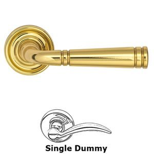 Omnia Industries Single Dummy Edged Lever and Small Edged Rose in Polished Brass Lacquered