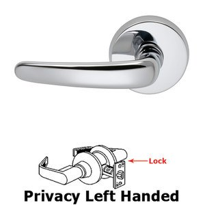 Omnia Industries Privacy Saratoga Left Handed Lever with Plain Rosette in Polished Chrome