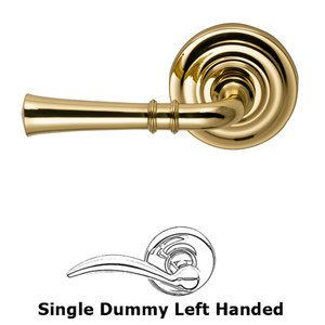 Omnia Industries Single Dummy Traditional Left-Handed Lever with Traditional Rose in Polished and Lacquered Brass