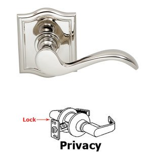 Omnia Industries Privacy Wave Lever with Arch Rose in Polished Nickel Lacquered