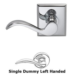 Omnia Industries Left Handed Single Dummy Wave Lever with Rectangle Rose in Polished Chrome