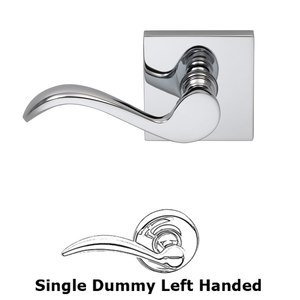 Omnia Industries Left-Handed Single Dummy Wave Lever with Square Rose in Polished Chrome Plated