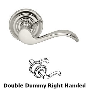 Omnia Industries Right Handed Double Dummy Wave Lever with Traditional Rose in Polished Nickel Lacquered