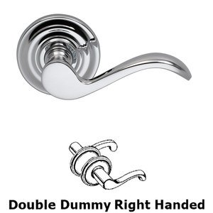 Omnia Industries Right Handed Double Dummy Wave Lever with Traditional Rose in Polished Chrome