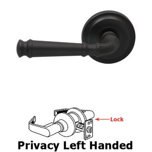 Omnia Industries Privacy Traditions Left Handed Lever with Radial Rosette in Oil Rubbed Bronze Lacquered