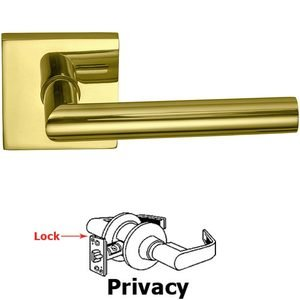 Omnia Industries Privacy Modern Lever with Square Rose in Polished Brass Lacquered