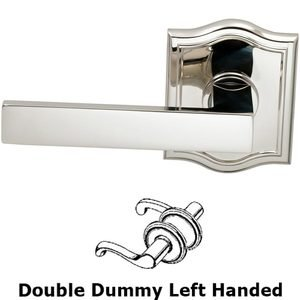 Omnia Industries Double Dummy Square Left-Handed Lever with Arched Rose in Polished Nickel Lacquered Plated, Lacquered
