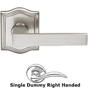 Omnia Industries Right-Handed Single Dummy Square Lever with Arched Rose in Satin Nickel Lacquered Plated, Lacquered