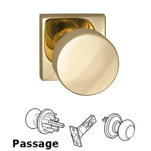 Omnia Industries Passage Puck Knob with Square Rose in Polished Brass Lacquered