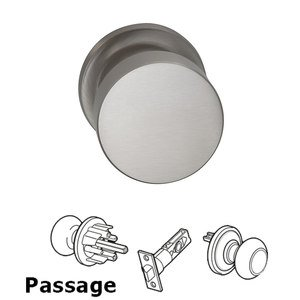 Omnia Industries Passage Puck Knob with Traditional Rose in Satin Nickel Plated, Lacquered