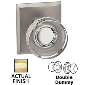 Omnia Industries Double Dummy Puck Glass Knob With Rectangular Rose in Polished Brass Lacquered